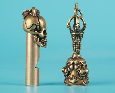 2 Unique Chinese Bronze Pendant Spoon Bell Skull Exorcist Mascot Collection Gift