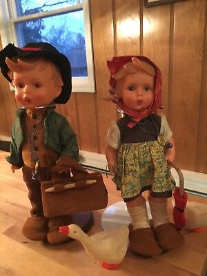 "VINTAGE Pair Boy/Girl Hummel Goebel German Doll Approx 11"" with accessories"
