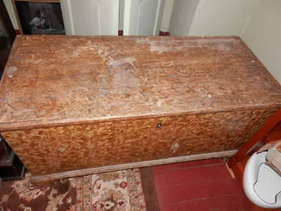 Antique Hand Painted Blanket Chest with Glove Box