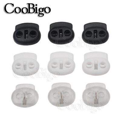 Cord Lock Stopper Bean Clip Black Clear Cord Rope Clothes Bag Sewing Accessories