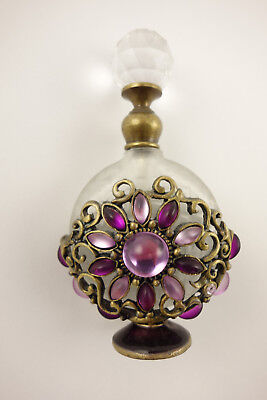 Vintage Perfume Bottle With Stopper & Purple Stones