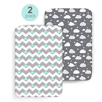 2 Pack for Mini Crib Sheet Set Pack n Play Mattress Cover Ultra Stretch Fitted