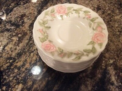 Vernon Ware by Metlox ROSE PINK Ceramic Pottery 8 CUPS and SAUCERS SET Very Nice
