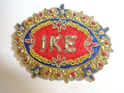 Vintage 50's Eisenhower Ike Campaign Pinback Brocaded Boullion Thread Beads Pin