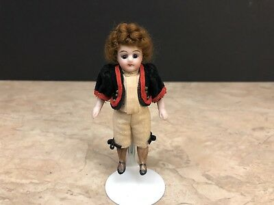 RARE Antique All Bisque Dressed French-Type Boy Doll Miniature Mignonette 4""