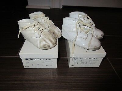 Vintage Lot Of 2 Mrs. Day's Baby Ideal Shoes leather and original boxes size 1,2