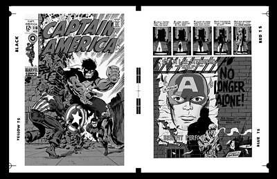 Jim Steranko Captain America #110 Cover And Pg 1 Rare Large Production Art