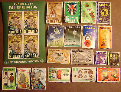 Nigeria 19 Different Mint Never HInged F-VF
