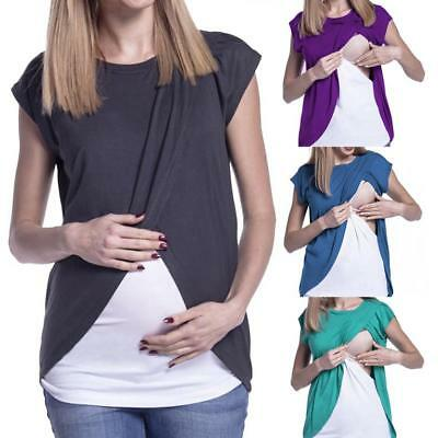 0aac2bf6eff0c Women Maternity Nursing Breastfeeding Top Double Layer Summer Blouse T Shirt  CA