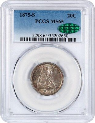 1875-S 20c PCGS/CAC/CAC MS65 - Popular Type Coin - 20-Cent Piece