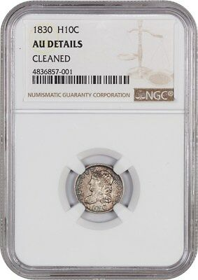 1830 H10c NGC AU Details (Cleaned) - Early Half Dimes