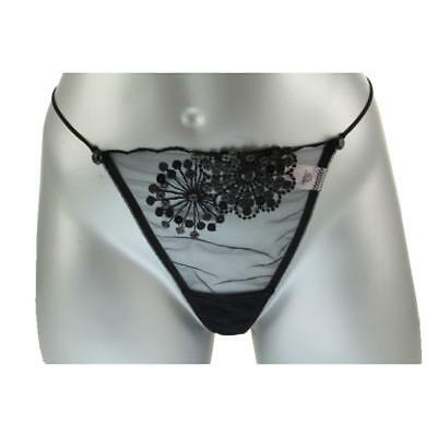 Victoria's Secret Womens Black Mesh Sequined G-String Thong Panty M BHFO 6808