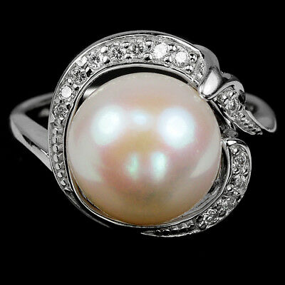 Natural 11 Mm. Round Cabochon White Pearl & Cz Sterling 925 Silver Ring Size 7
