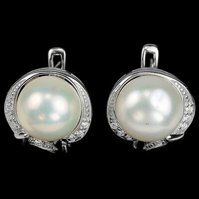 Natural 11 Mm. Round Cabochon Aaa White Pearl & Cz Sterling 925 Silver Earring