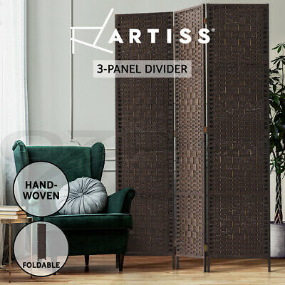 Artiss 3 Panel Room Divider Privacy Screen Rattan Frame Stand Fold Woven Brown