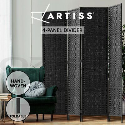 Artiss 4 Panel Room Divider Privacy Screen Rattan Frame Stand Fold Woven Black