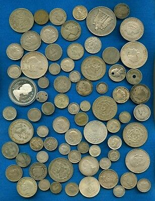 Lot Of 75 Foreign Coins From Around The World -Lots Of Silver
