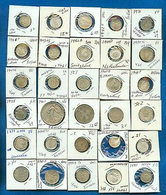 Lot Of 30 Foreign Coins From Around The World -Lots Of Silver