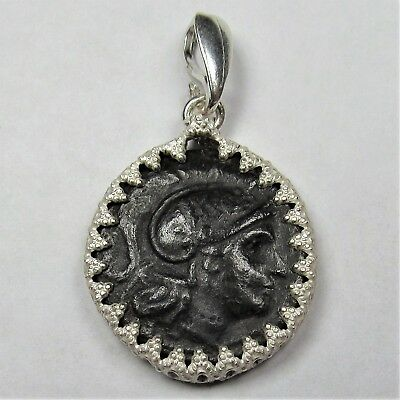 Authentic Ancient Greek Bronze Coin Sterling Silver Pendant Setting Leo #43