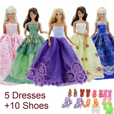 5 Handmade dresses + 10 pairs of shoes for Barbie dolls kids cute gift NEW BRAND