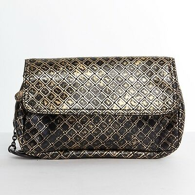BOTTEGA VENETA black gold printed intrecciato butterfly crossbody chain mini  bag e236539a0ce06