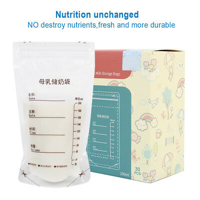 30Pcs 200ml Breast Milk Storage Bags Freezer Pre Sterilised Easy Seal Containers