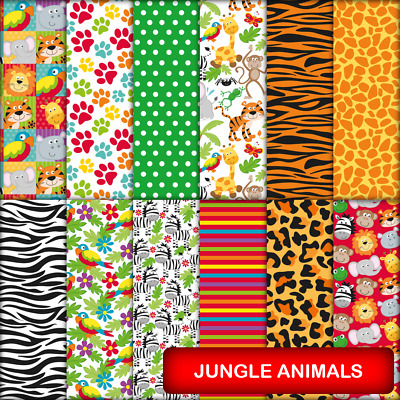 JUNGLE ANIMALS SCRAPBOOK PAPER - 12 x A4 pages