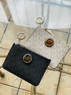 a09d59dd96db0e Michael Kors FULTON Small Top Zip Coin pouch W/ ID Keyring Wallet Various  Colors