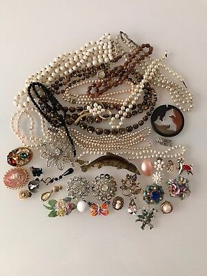 Job Lot Vintage Broken Costume Jewellery Spares And Repairs