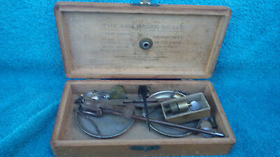 Vintage American Scale Co.scales with 14 weights & wooden box for base