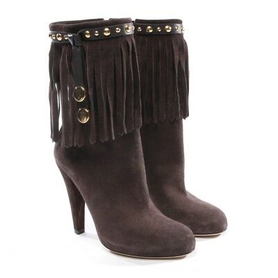 d7efbe1f178 Gucci Bottines Taille D 37 Marron Femmes Chaussures Boots Daim Franges Cuir