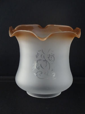 Victorian Style Amber Cognac Frosted Glass Tulip Oil Lamp Shade