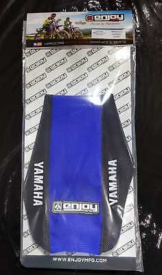 Yamaha YZF 250//450 2014-2016 ENJOY SEAT COVER Blue side White ribs Blue top