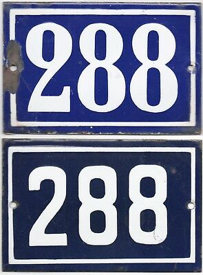 Old blue French house number 288 door gate wall fence street sign plate plaque