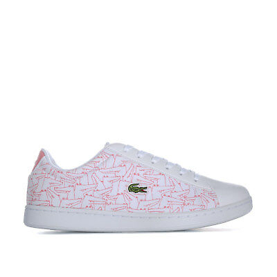9387a89e9a JUNIOR GIRLS LACOSTE Carnaby Evo Trainers White Pink- Lace Fastening-  Cushioned - EUR 38,80 | PicClick FR
