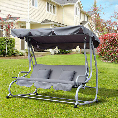 Garden Swing Chair Cushioned 3 Seaters Patio Hammock Bed Canopy w/ Cup Holders