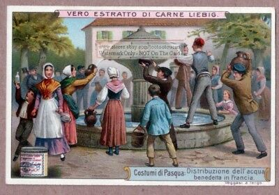 France Blessed Holy Water Easter Pasqua Celebration c1900 Trade Ad Card