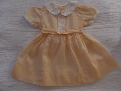 VINTAGE 50's SHEER ORGANZA COTTON FABRIC PEACH WHITE LACE DOLL BABY GIRL DRESS