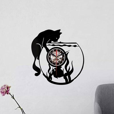 Vinyl Wall Clock Record Creative Wall Clock - Cat And Fish Without Light PA