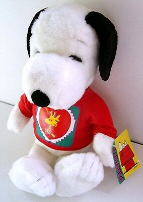 "15"" SNOOPY & WOODSTOCK VALENTINE'S PLUSH DOLL w/ MUSIC ""CALL YOU SWEETHEART"" Tag"