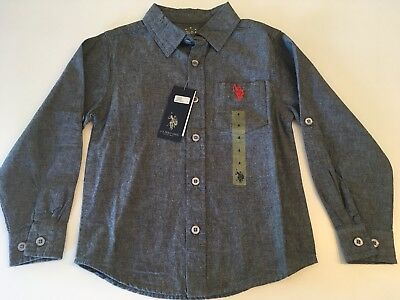 U.S. Polo Assn Boys Button Down Gray Long Sleeve Front Pocket NWT Sz 4