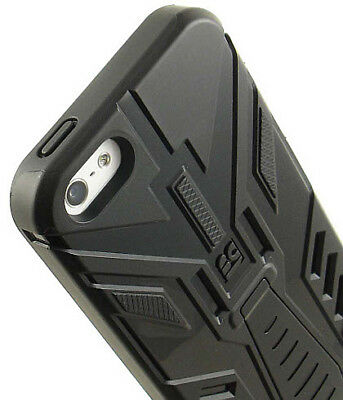BLACK TRI-MAX RUGGED TPU CASE COVER STAND SCREEN PROTECTOR FOR APPLE iPHONE 5 5s