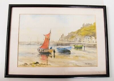 DON AUSTEN Porthaven Cornwall framed watercolour print picture harbour boats