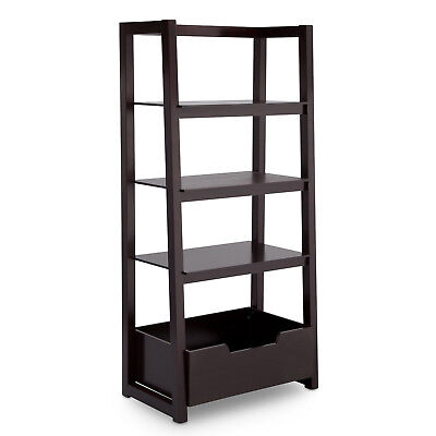 Delta Children Kids Bedroom or Playroom Gateway Ladder Shelf, Dark Chocolate