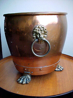 Copper Pot, Lion Heads & Paws, Vintage English Piece, Hand-Crafted, England