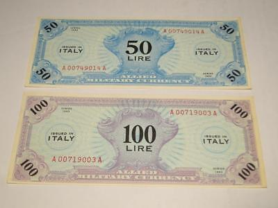 1943 Italy Allied Military Currency 50-100 Lire Prefix A