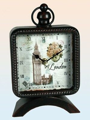 Vintage Look Tischuhr London Uhr Kaminuhr Retro Shabby used England UK