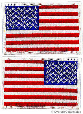 LOT 2 US AMERICAN FLAG MILITARY UNIFORM EMBROIDERED PATCH iron-on WHITE BORDER