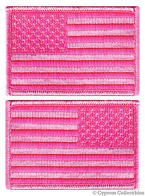 LOT 2 US AMERICAN FLAG MILITARY UNIFORM EMBROIDERED PATCH iron-on PINK FEMALE