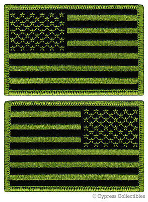 LOT 2 US AMERICAN FLAG MILITARY UNIFORM EMBROIDERED PATCH iron-on SUBDUED GREEN